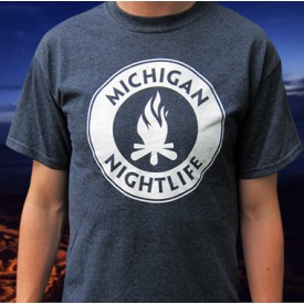 Michigan Nightlife Adult Heather Navy T-shirt