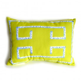 Citron Birch Greek Key Outdoor Lumbar Pillow