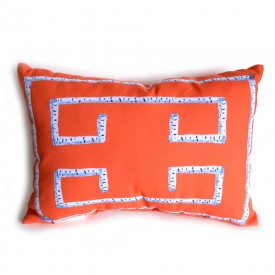 Orange Birch Greek Key Outdoor Lumbar Pillow