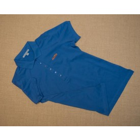 Women's embroidered blue polo shirt