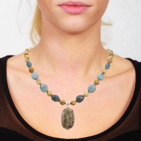 Petoskey & Leland Blue Beaded Necklace