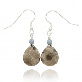 Petoskey Stone Pear Shaped Earrings