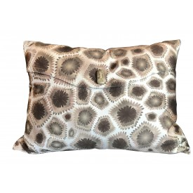 Petoskey pillows with Petoskey stone button