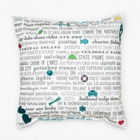 "Pillow - 18"" Michigan Bucket List"