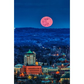 Pink Moon Over Traverse Canvas