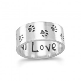 Unconditional Love - Oxidized Paw Print Ring
